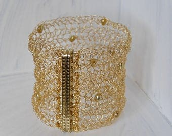 Wide Gold Bracelet with freshwater pearl crochet crochet bracelet cuff gold bracelet gold