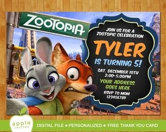 Zootopia Invitation, Zootopia Party, Zootopia Birthday, Zootopia, FREE Thank you Card!