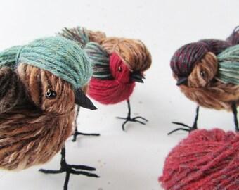 Birds of a Feather Flock Together. Bird Family Decor. Set of three coordinated wool bird sculptures. Bird Decoration.