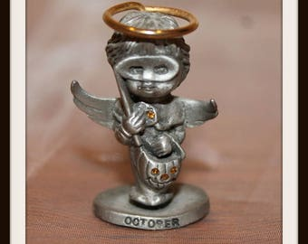L'il Angels Pewter October Angel, Angel Wings Birth Month, Genuine Fine Pewter By Cathedral Since 1920, Halloween Angel