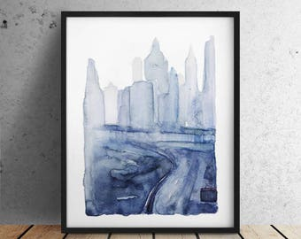 INSTANT DOWNLOAD / City print / Big sizes / New York print / New York City print / New York poster / New York watercolor / Manhattan Bridge
