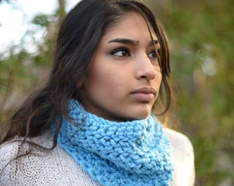 Blue Crochet Neck Warmer Scarf