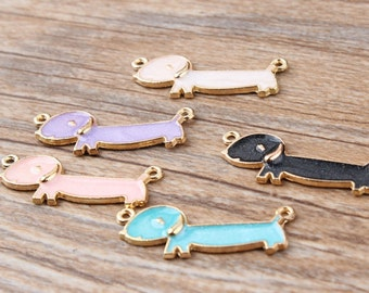 10PCS Dachshund Charms Pendants Diy Jewelry Accessories In Gold Metal Enamel Charms 5 Different Colors