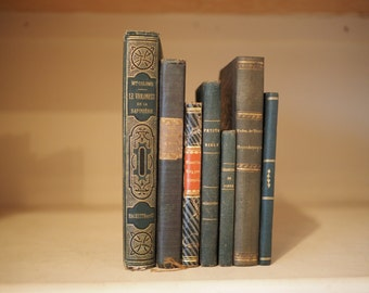 7 Antique green hardback books for decoration, collections and instant libraries