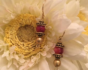 Purple Shell Earrings with 14K Gold Filled Wire & Gold Plated Findings.