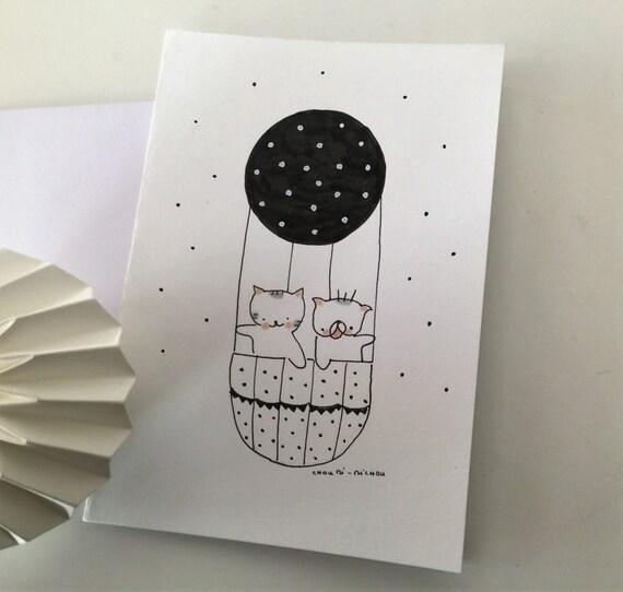 """Folded card """"Choumi et Michou en mongolfière"""""""