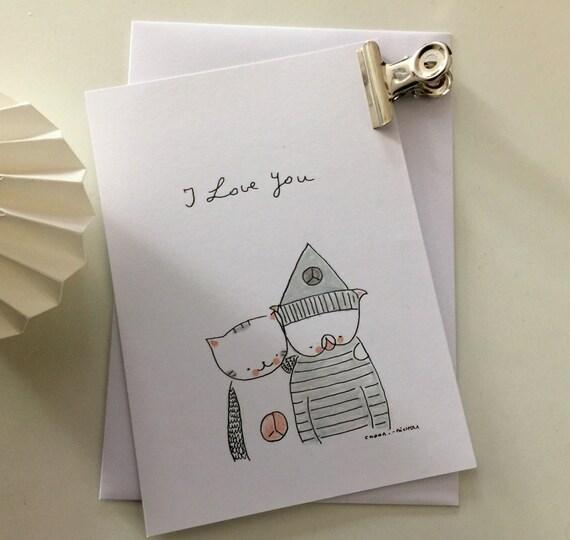 """Postcard """"Choumi et Michou, I love you"""""""