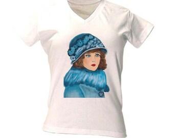 Women vintage shirt, summer shirt, art t-shirt, vintage t-shirt women, vintage summer shirt, art déco shirt, art deco t-shirt,