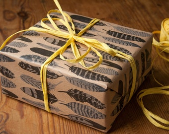 Wrapping paper with feather pattern 3 bow