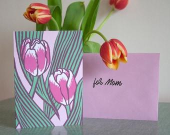 Greeting card tulips pink