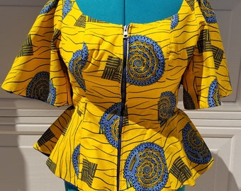 Yellow & Blue Ankara Jacket; African Print Jacket; African Top; African Clothing; Ready To Ship