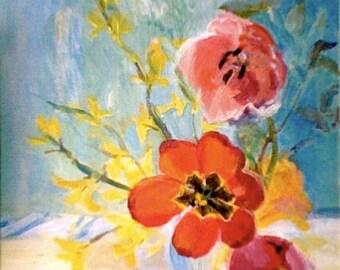 "Floral painting, origina art, acrylic on canvas, ""Tulips in Sunlight"""