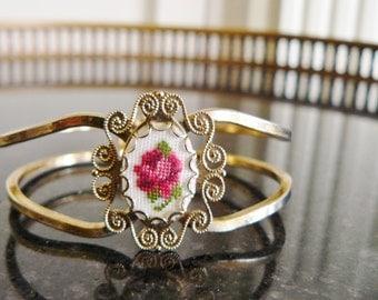 Vintage Bracelet Cross Stitch Rose Cameo Victorian Style Jewelery