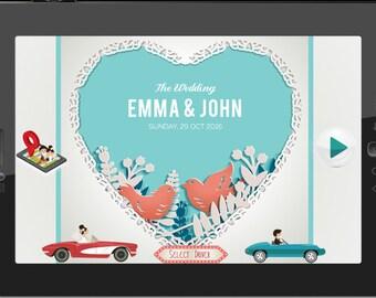 Gamer Wedding Invitation Digital Game Nerdy Couple Player 1 2