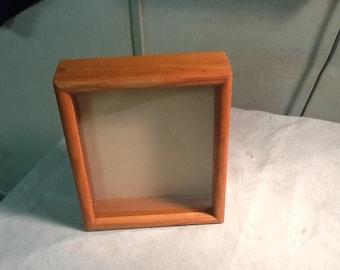 Handmade Cherry Hardwood Shadow Box  with Glass front