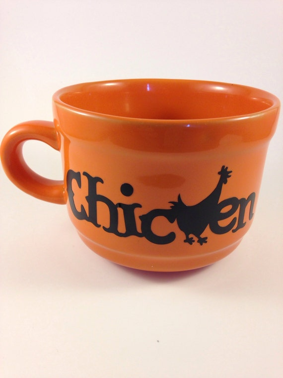 Soup cup bowl 22oz ceramic with handle great gift orange and black beautiful Mug, chicken soup