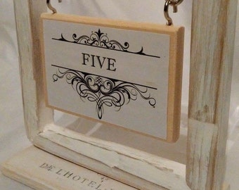 Box Frame, aged table number card place name wedding party meeting holder stand