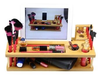 Handmade Beauty Makeup Brush Organizer phone iPad Holder Station for Birthday Gift