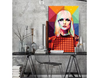 """Tribute to Blondie Portrait """"Deborah"""" FRAMED ART gift idea for musicians and music lovers pop art personalized by you - Unpacking And Hang!"""