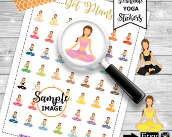 Yoga Stickers, Yoga Planner Stickers, Printable Stickers for Planners, Instant Download, Agenda Stickers