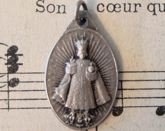 Antique French Religious Medal Infant of Prague / Madonna & Child c1940