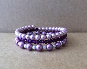 Purple Beaded Memory Wire Bracelet