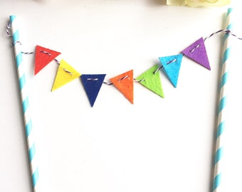 Multi Coloured Rainbow Blue Bunting Cake topper, Happy Birthday, Party, Wedding, Congratulations