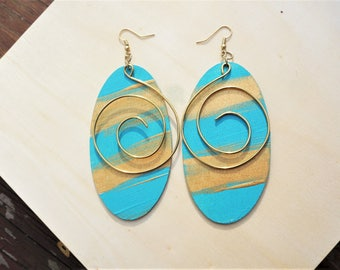 Bahamian Breeze Spiral Earrings- Hand Painted Wood N' Wire earrings