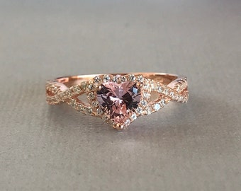 Heart Pink Morganite Rose Gold Simulated Diamond Sterling Silver Engagement Promise Infinity Band Ring, Simulated Morganite Ring