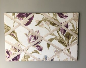 Purple tulip photoboard, vintage Laura Ashley, bulletin board, memo board