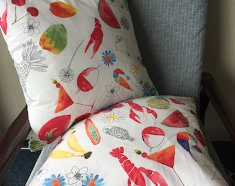 Food and Plants IKEA Fabric Watercolour White Throw Pillow 18x18inch 45x45cm Cushion Cover