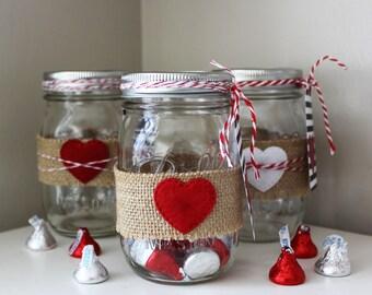 valentines day mason jars farmhouse valentines mason jar hearts burlap and mason jars