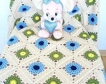 "Knitted Baby Blanket ""Winter- Summer"" Baby boy blanket  Knit child wool blanket Crochet baby blanket Crib blanket Hand knit baby"