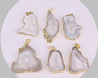 2/6pcs Nature White Agate Geode Druzy Pendant, Gold Electroplating Slice Agate Pendant, Quartz Gemstone Pendant