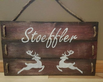 Custom Wood Plank Sign Whitetail Deer Head plus Your Name!