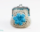 Blue Flower Crochet Coin Purse with Silver Finish Kiss Clasp