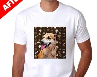 Pop Art Custom Pet Men's T-Shirts Paws Brown Background
