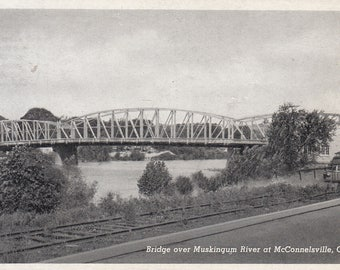 McConnelsville, Ohio Vintage Postcard - Bridge Over Muskingum River