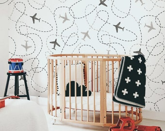 Removable Wallpaper, Kids Wall Mural, Nursery, Baby Wallpaper, Airplanes  Pattern, White Part 95