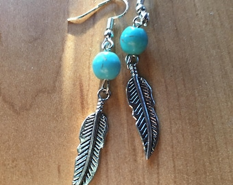 Turquoise and feather silver earrings.