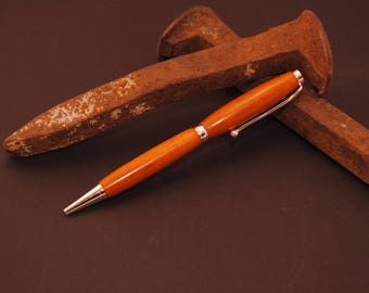 Orangeheart Wood Pen - Handmade Wood Pen - Slimline Pen - Custom Pen - Wood Pen - Orangeheart - Orange wood
