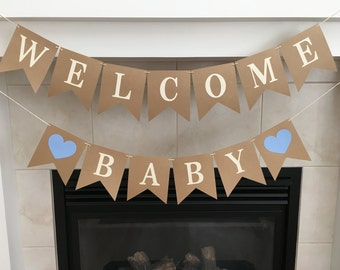Welcome Baby Banner, Baby Shower Banner, Baby Sprinkle, Baby Shower Decoration, Boy Baby Shower, Photo Prop