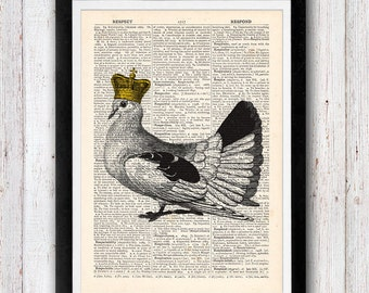 The Royal Pigeon vintage dictionary page book art print