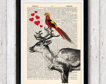 Love You Deerly art vintage dictionary page book art print