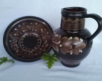 Vintage Hand Made Pottery Pitcher and Bowl