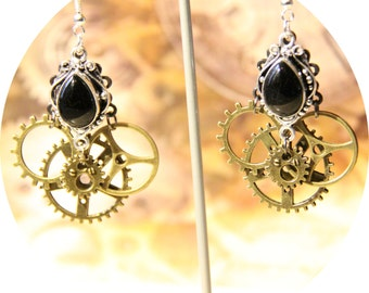 Earrings silver and bronze, steampunk Victorian steampunk gears, COGS and black crystal earrings