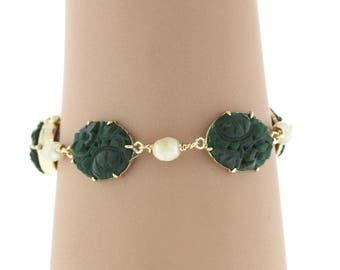 Vintage 14K Yellow Gold Jade & Mother Of Pearl Bracelet - 18.1 Grams