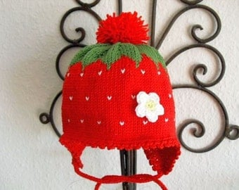Baby Strawberry hat, Strawberry