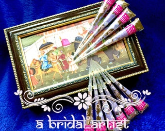 Mini Henna Cones - 10 x 10g Bridal Quality Fresh Henna (Mehndi Cones); Rajasthani Pure Natural Organic Henna; Silky Smooth Henna Paste