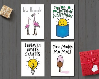 Cute and Funny Valentine's Day Cards/ Digital Art instant download/ Four 4x6 fun cards/ Flamingo, light bulb, ice cream and sunshine!